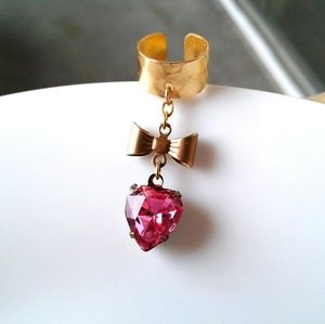 Pink Antique Heart Gemstone Bow Ear Cuff